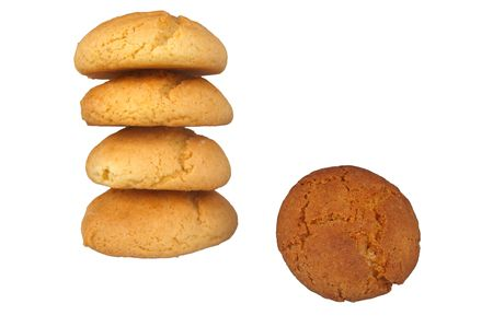 Peanut butter and ginger cookies isolated over white photo