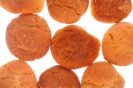 Peanut butter and ginger cookies background group isolated over white Stock Photo - 7405103