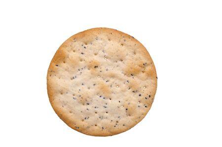 galletas integrales: hors oeuvres cracker con pimienta craqueado aislado sobre blanco  Foto de archivo