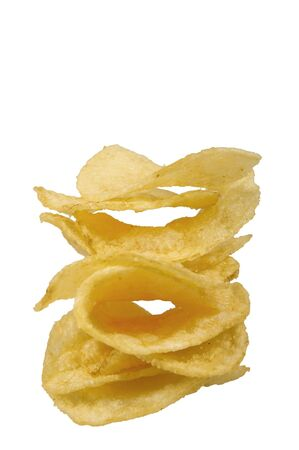 salted plain potato chips isolated over white  photo
