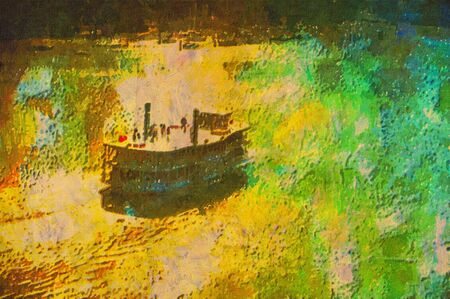 original oil painting of old scholl paddle boat steamer photo