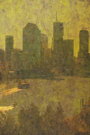 original oil painting of brisbane city river life cityscape photo