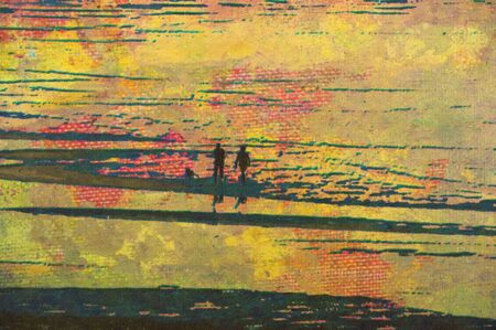 original oil painting of couple strolling along beach photo
