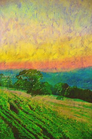 rolling landscape: original oil painting of rolling hills countryside