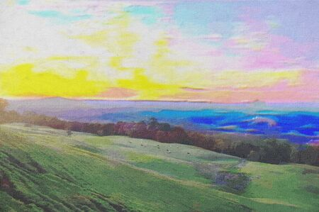 original oil painting of rolling hills countryside photo