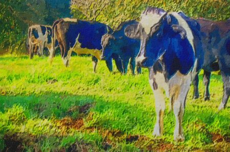 original oil painting of rdairy cows in field photo