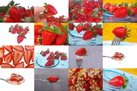 compilation: tear  sheet  compilation  of strawberries in grid
