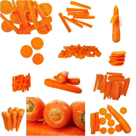 compilation: tear sheet compilation of carrot isolated on white Stock Photo