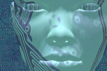 render of circuit board digital integrated face Stock Photo - 7600683