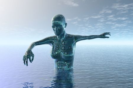motherboard: in deep water technology 3d concept image Stock Photo