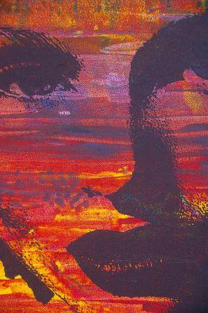 una pintura al óleo original de imagen altamente estilizada