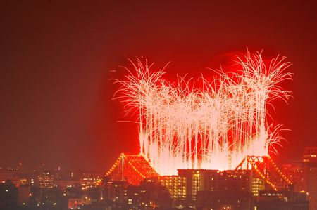 river fire fireworks as Brisbane festival over storey bridge photo
