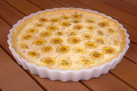 banana custard cream pie with layered pieces Stock Photo
