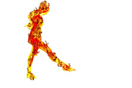 hot girl legs: woman on fire flame  kicking concept sport image Stock Photo