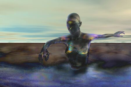 end of world robot woman oil spill futuristic concept image photo