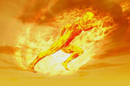 ganar: concepto de hombre de fuego 3D procesar la imagen con bola de energ�a de plasma