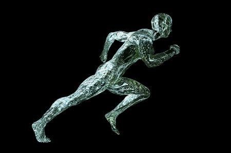 acqua uomo muscolare 3d rendering immagine di concetto isolato su nero