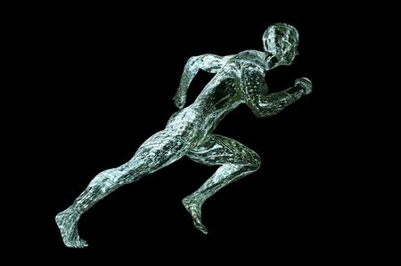 water muscle man 3d render concept image isolated on black