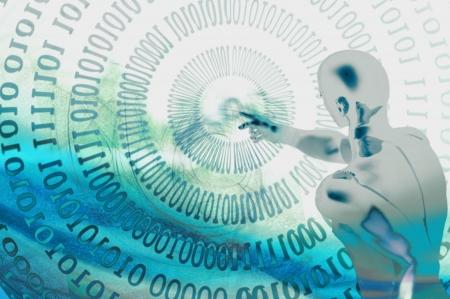 evaluating: hombre de Cyborg con el concepto de elecci�n de datos binarios  Foto de archivo