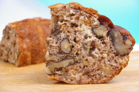 slice of fresh baked banana bread with walnuts Stock Photo - 7855804