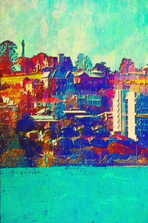 original oil painting of houses along the brisbane river Stock Photo - 7855822