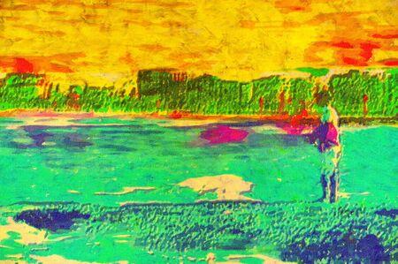 original painting of person fishing caloundra queensland photo