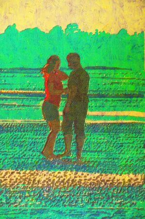 original painting of couple embracing on beach photo