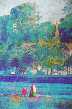 original painting of children playing at beach sandgate brisbane photo