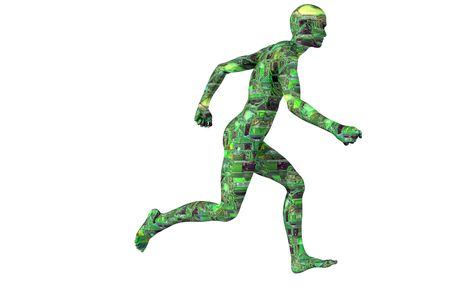 move forward: circuit man running technology concept render