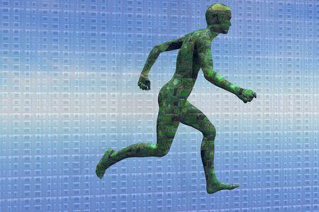 circuit man running technology concept render photo