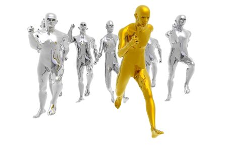 running winning gold medal business metaphor render photo