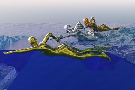 games concept image of gold medal swimmer photo