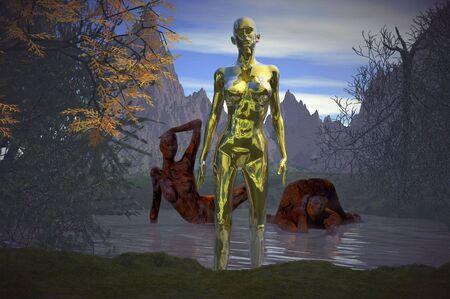 hag: halloween swamp hag ghoul 3d concept render