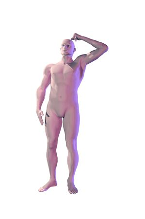 3d Mannequin dummy man scratching head concept image photo