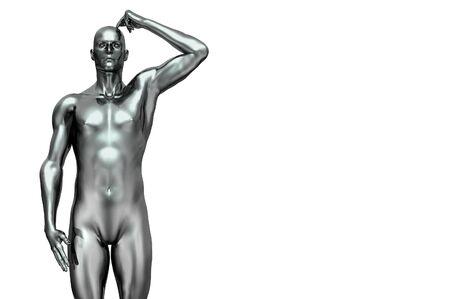 silver man futuristic 3d render scratching head Stock Photo - 7862720