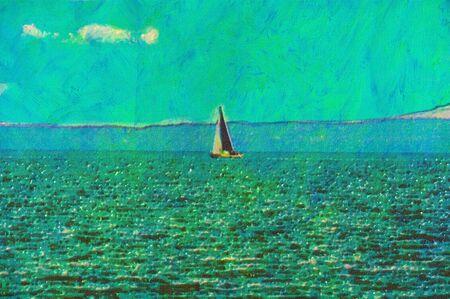 original oil painting of sail boat cruising along photo