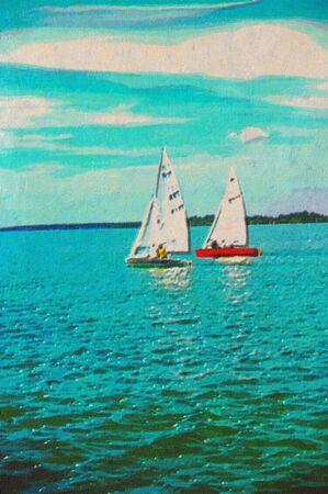 original oil painting of sail boats cruising along Stock Photo - 7909678