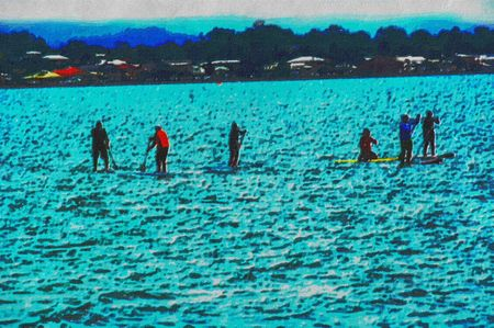 boarders: original oil painting of stand up padde boarders