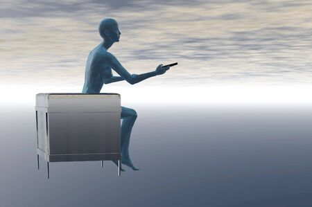 futuristic woman render with tv remote and chair ablue brain visible photo
