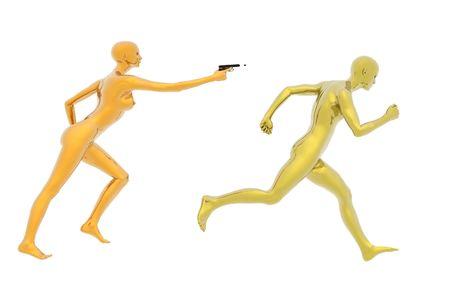 mujer con pistola: concepto de m�ltiples 3D realizar el procesamiento con ca��n de mujer de hombre