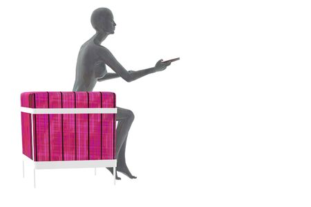 futuristic woman: futuristic woman render with tv remote and chair