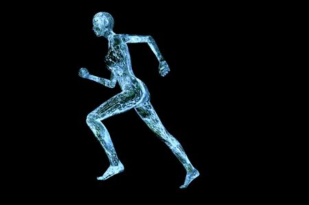 水筋肉女性 3 d レンダリング コンセプト画像黒に分離 写真素材 - 8003813