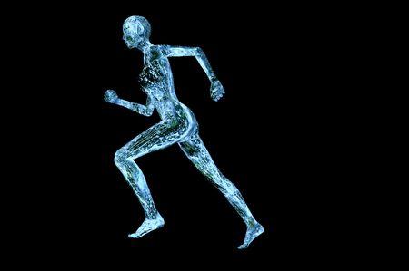 musculaires eau femme 3d concept image de rendu isolé sur noir