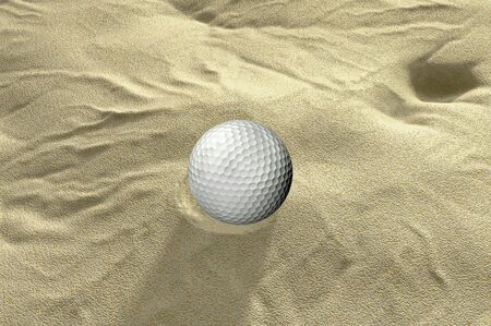 sand trap: ball in sand trap 3d golf render