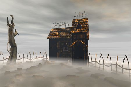 manor: old haunted house halloween holiday 3d render