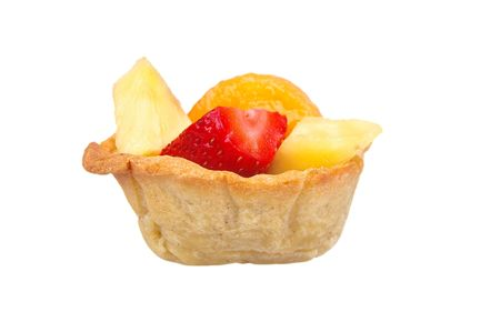 fruit cup sweet-crust pastry isolated over white photo