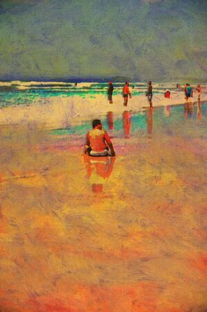 original oil painting of gold coast surfers paradise beach people Stock Photo - 8031336