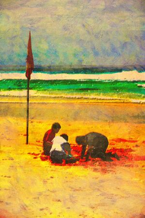surfers: original oil painting of gold coast surfers paradise beach people Stock Photo
