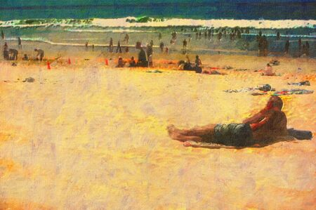 original oil painting of gold coast surfers paradise beach people Stock Photo - 8031334