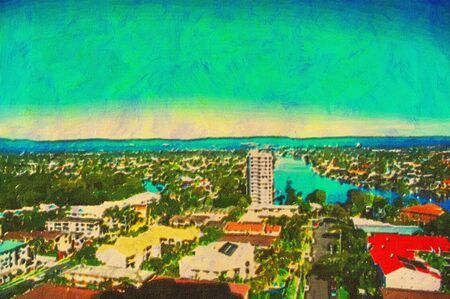 oil painting of nerang river and gold coast hinterland Stock Photo - 8031338